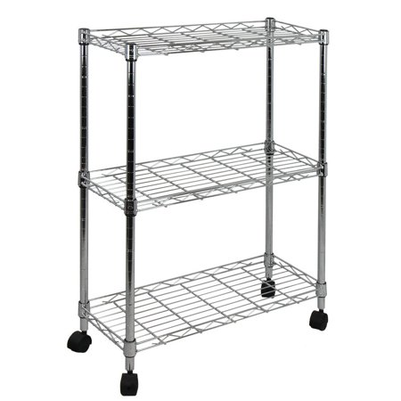 Chrome Open Base Utility Cart - 9 in. W 3-Tier Shelving All-Purpose Utility Cart in Polished Chrome, Measures (assembled) 22.5 L x 9 W x 32 H Ship from US