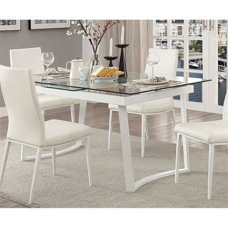 Furniture of America Ambre Extendable Glass Top Dining Table in White