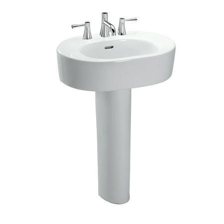 Toto Nexus Oval Pedestal Bathroom Sink For 8 Inch Center Faucets Cotton White Lpt790 8 01