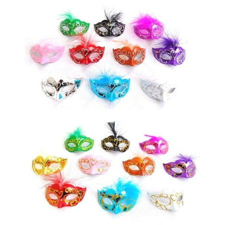 12 Mini Mardi Gras Feather Masquerade Mask Party Favor Wedding Decoration (Mardi Gras Party Supplies)