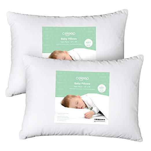 """[2-Pack] Celeep Baby Toddler Pillow Set 13"""" x 18"""" Toddler Bedding Small Pillow Baby Pillow with 100%... by Equinox International"""