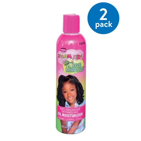 (2 Pack) African Pride Dream Kids Olive Miracle Anti-Breakage Detangling Oil Moisturizer, 8 fl oz (Anti Frizz Moisturizer)