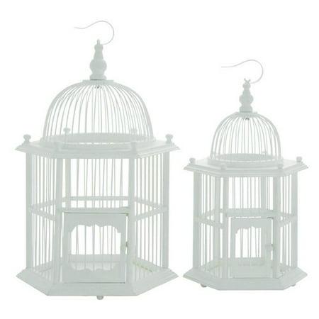 Cole Grey 2 Piece Wood Decorative Bird Cage Set
