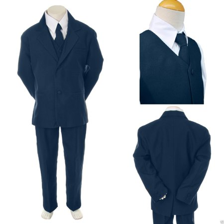 Baby Toddler Kid Teen Boy Wedding Formal Party Navy Blue 5pc Tuxedo Suit sz S-20 - Blue Tuxedo