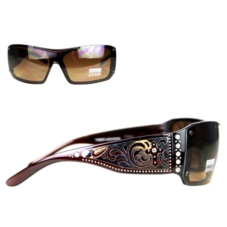 Montana West Ladies Sunglasses Rhinestones Silver Scrolling Cross Cutouts UV400 - Led Sunglasses Wholesale