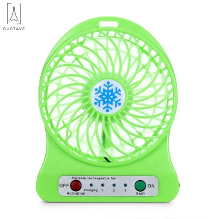 "GustaveDesign Portable Electric Mini Fan Air Cooler USB Rechargeable Desk Handheld Fans with LED Light ""Green"""
