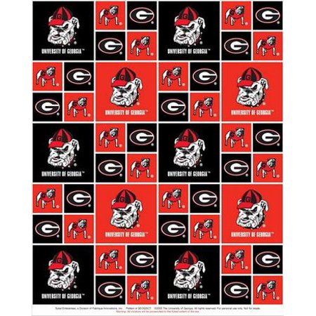 Georgia Tech Fabric (University of Georgia Fabric Fine Cotton Classic Geometric Design-Sold by the Yard )