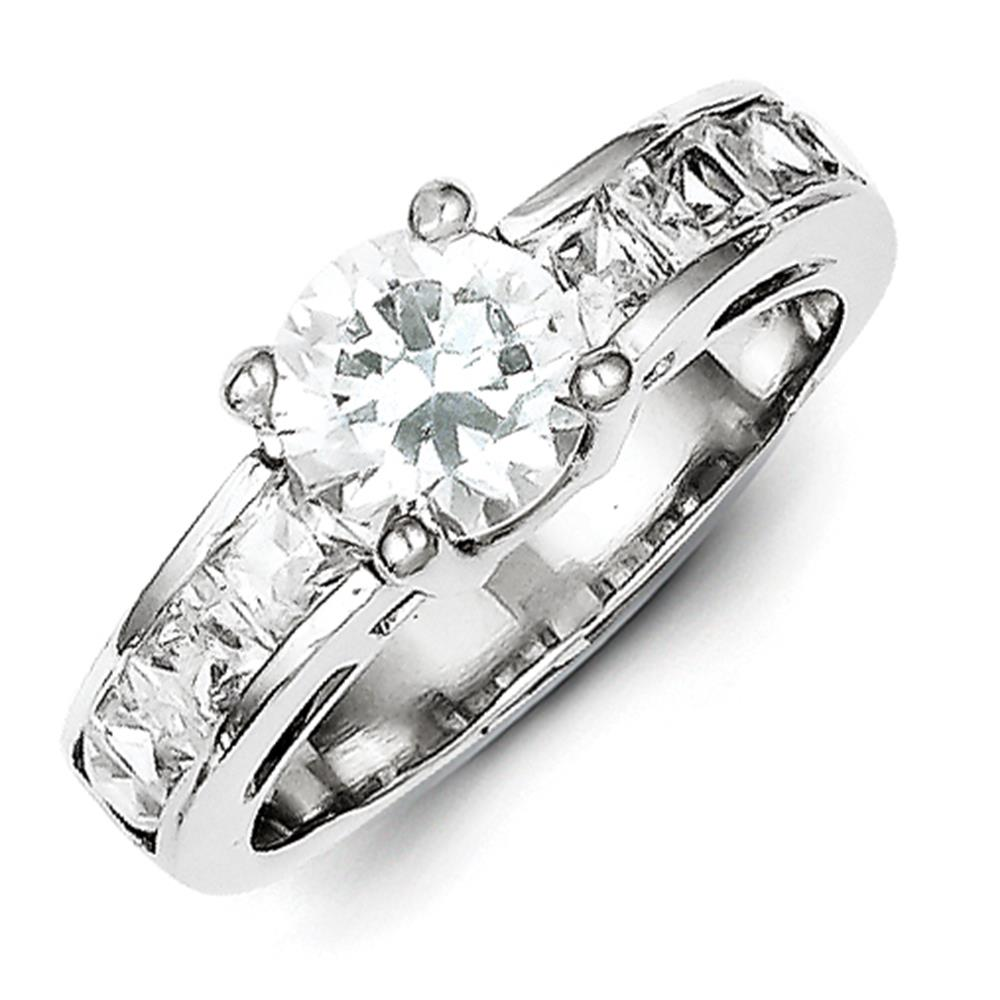 925 Sterling Silver Polished Round & Princess Cut CZ Engagement Ring Size 6