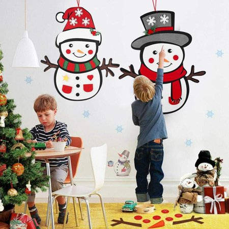 Felt Snowman Christmas DIY Game Set Christmas Decorations Ornaments for Kids, Xmas Gifts and Christmas Door Wall Hanging Decorations Jesus Felt Set