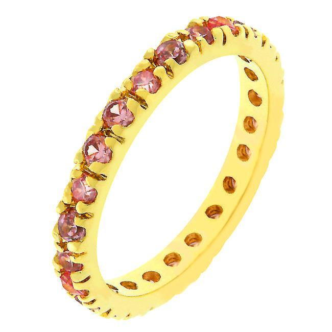 Kate Bissett R07865G-V12-09 14k Rose Gold Plated Eternity Ring with Channel Set Pink Ice CZ in Goldtone- Size 9