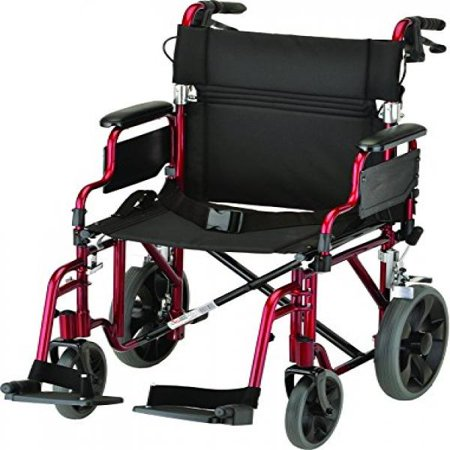 Nova Medical Products 352 Lightweight Transport Chair With Detachable Desk Arms  Hand Brakes And 12 Rear Wheels  19  Red