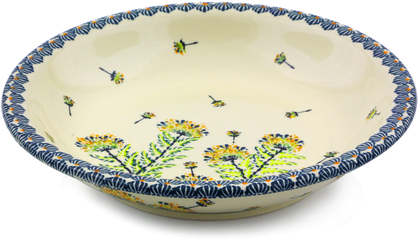 Polish Pottery 9-inch Pasta Bowl (Yellow Dandelions Theme) Hand Painted in Boleslawiec, Poland + Certificate... by Zaklady Ceramiczne