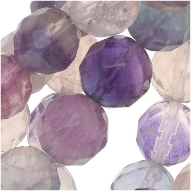 Purple & White Fluorite 8mm Round Faceted Gemstone Bead 16 Inch Strand
