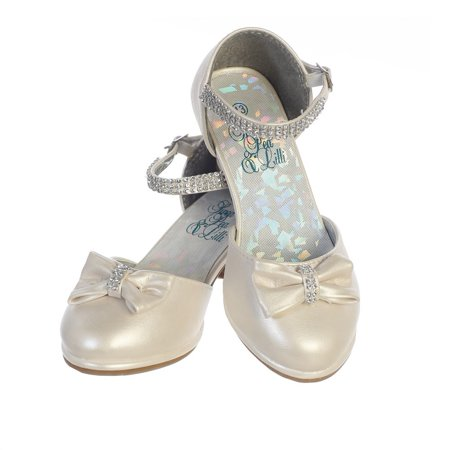 Girls Ivory PU Rhinestone Strap Bella Dress Shoes - Ivory Dress Shoes For Girls