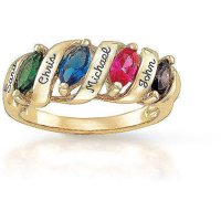 Personalized Family Story Mother's Birthstone Ring