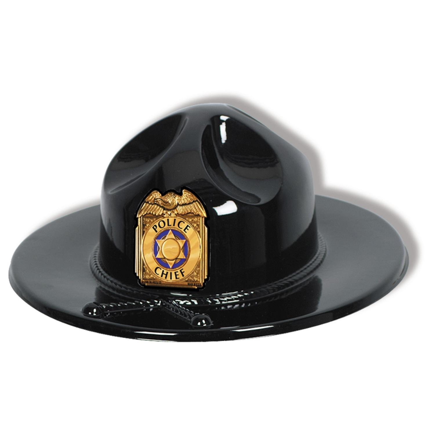 Club Pack of 24 Black Plastic State Trooper Party Hat with Gold Shield