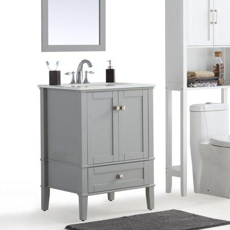Simpli Home Chelsea 24 Bath Vanity With White Quartz Marble Top