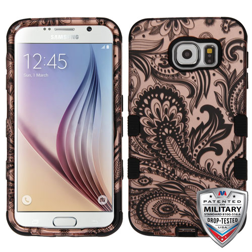 Samsung Galaxy S6 Case - Wydan Tuff Hybrid Hard Shockproof Case Protective Rubber Cover Phoenix Flower