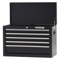 Top Chest,26x12x17-1/2,5 Drawers,Black WATERLOO SCH-265BK-B