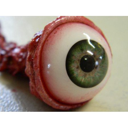 Halloween Prop Realistic Ripped Out Eyeball - GREEN - Blinking Halloween Eyeballs
