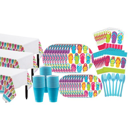 Party City Bright Flip Flop Basic Party Kit for 60 Guests, 683 Pieces - Party City Rockville
