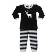 Rocket Bug Woodland Deer Pajama Set for Infants and Toddlers Black and White 18 months (12-18m)