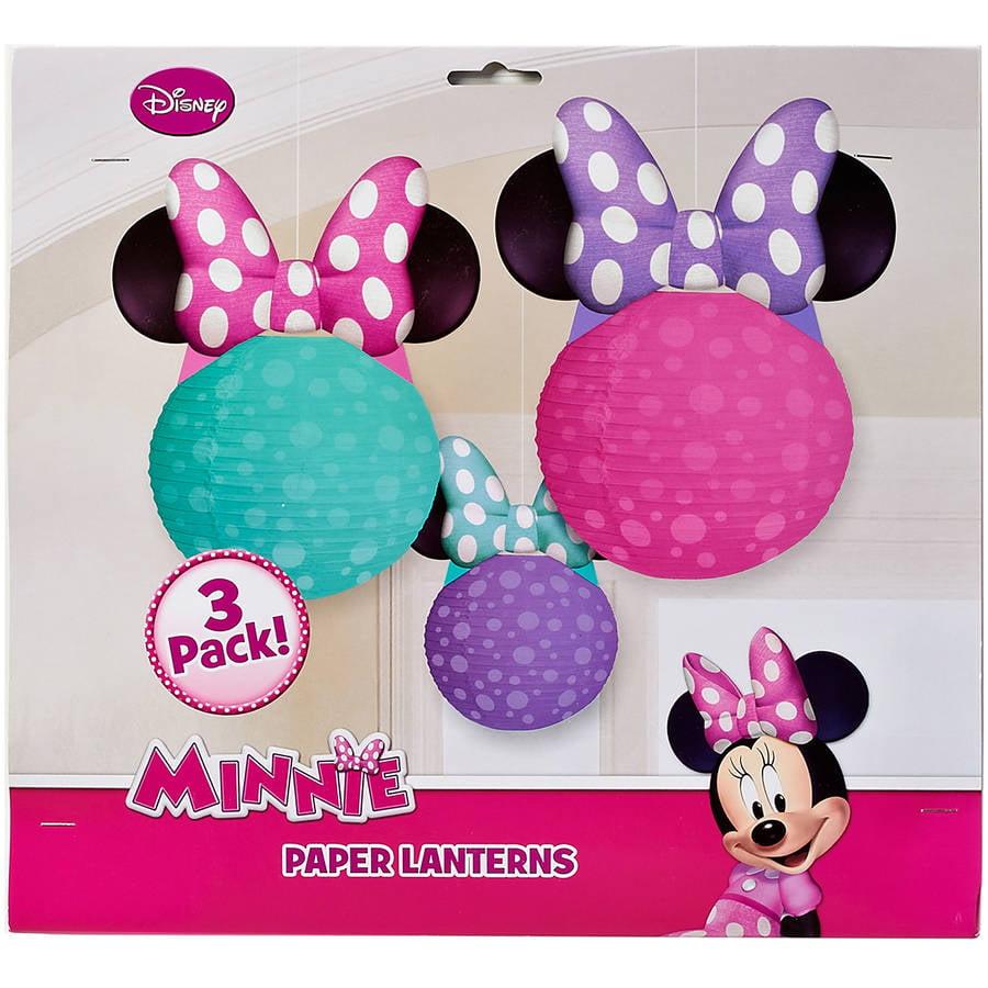 Minnie Mouse Bow-Tique Paper Lantern Decoration, 3 Count, Party Supplies