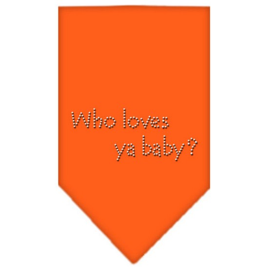 Who Loves Ya Baby Rhinestone Bandana Orange Large