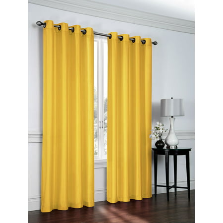 - 2 Pack: Regal Home Collections Ultra Luxurious Semi Sheer Shimmer Grommet Top Curtain Panels - Golden Yellow