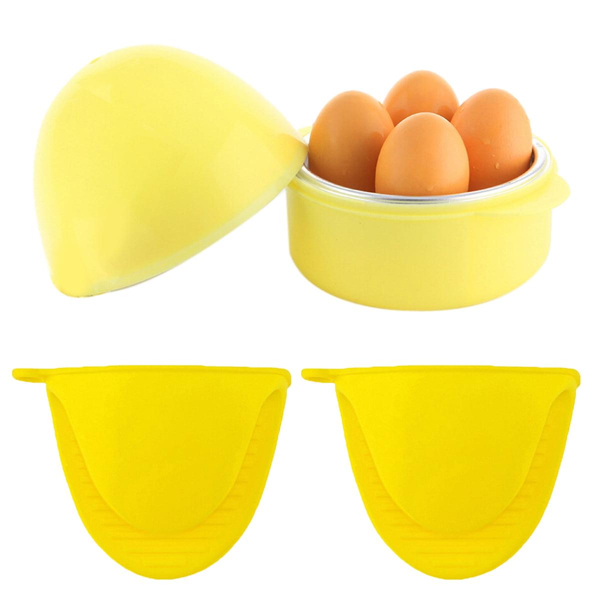 Egg Steamer,Justdolife Easy 4-Egg Microwave Boiler Rapid Eggs Cooker with Oven Gloves