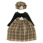 Baby Girls Black Khaki Velvet Checker Corsage Hat Christmas Dress 18M