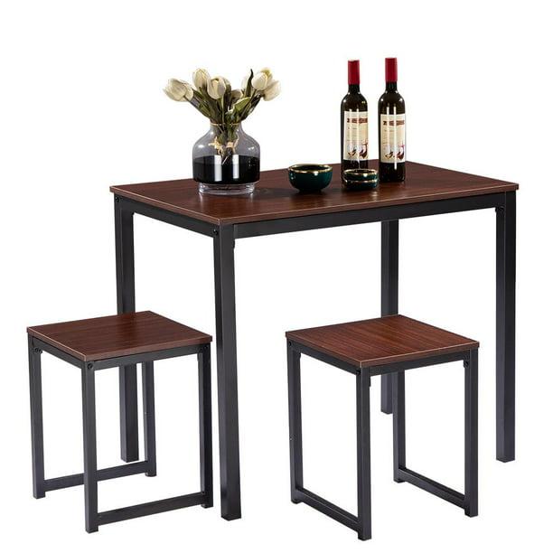 Kitchen Breakfast Table Walnut Color, Studio Collection 3 Piece Furniture Set