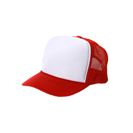Retro Foam & Mesh Trucker Baseball Hat, Red/ White - Blank Trucker Hats