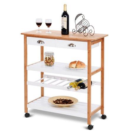 Gymax Bamboo Rolling Kitchen Trolley Cart Storage Island Utility W Drawers Shelf New