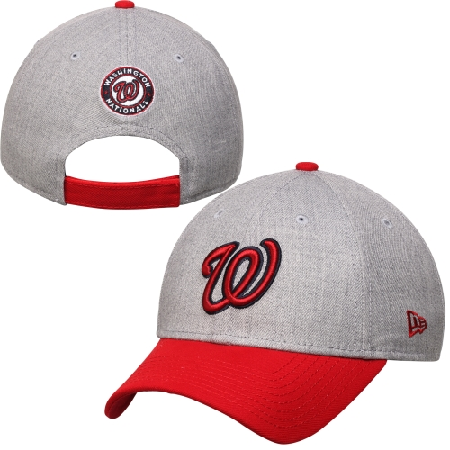 Washington Nationals New Era Heathered 9FORTY Adjustable Hat - Heather Gray - OSFA