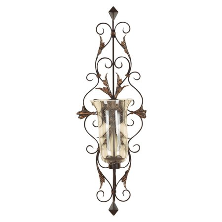Decmode Metal and Glass Candle Sconce, Multi Color