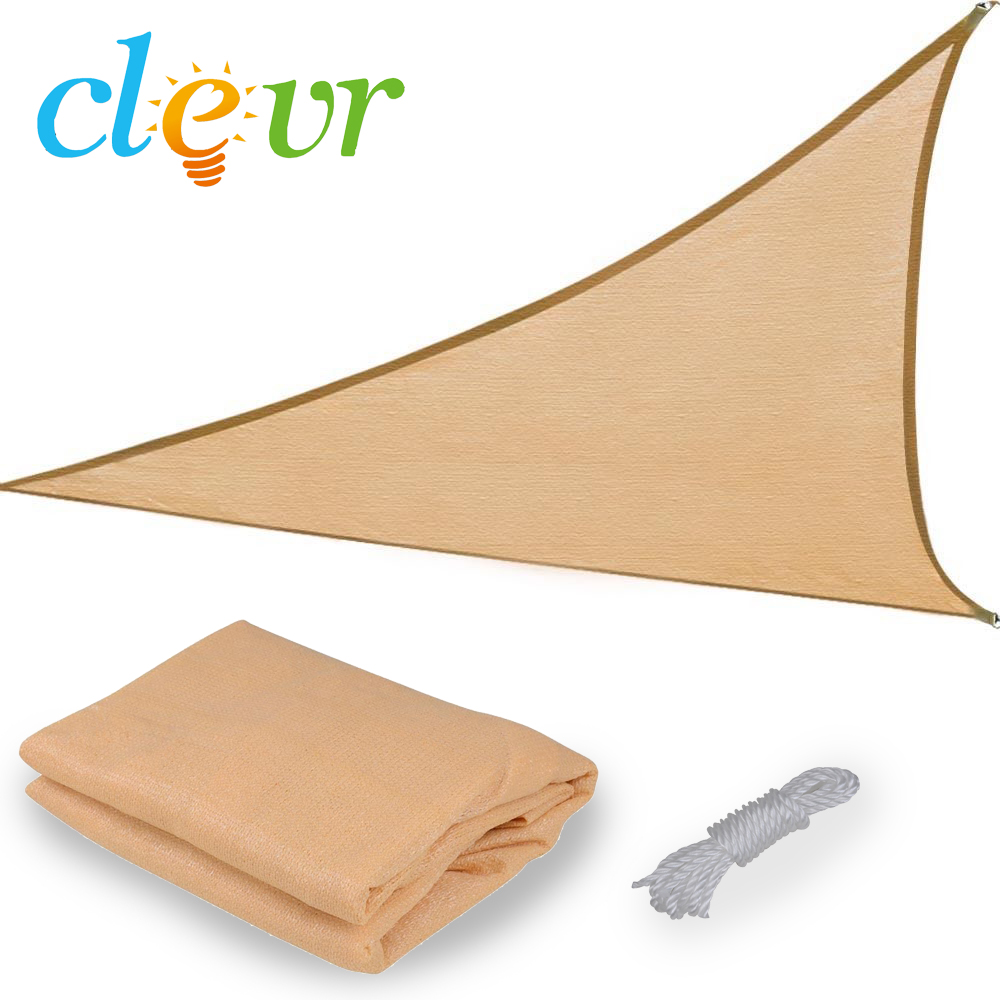 New Premium Clevr Sun Shade Canopy Sail 18'x18'x18' Triangle Outdoor Patio Sand