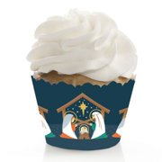 Holy Nativity - Manger Scene Religious Christmas Decorations - Party Cupcake Wrappers - Set of 12