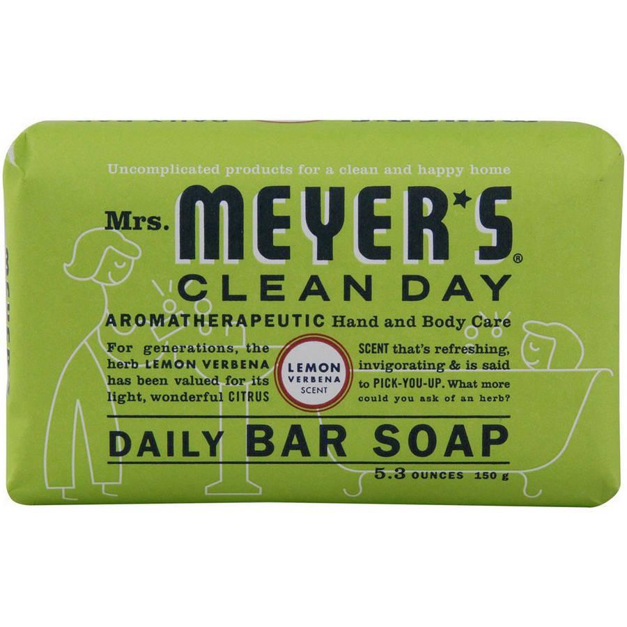 Mrs. Meyers Bar Soap, Lemon Verbena, 5.3 OZ (Pack of 12)