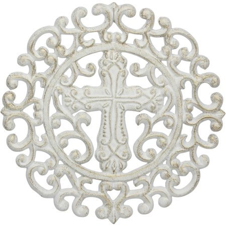 Stonebriar White And Gold Cast-Iron Round Cross (Cast Iron Round Trivet)