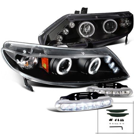 Spec-D Tuning For 2006-2011 Honda Civic 4Dr Halo Rim Projector Headlights + Driving Led Fog Lamps Black (Left+Right) 2006 2007 2008 2009 2010 2011 4dr 1 Piece Projector