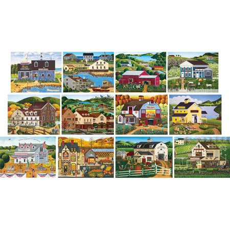 Masterpieces Art Poulin Collection   Folk Art 12 Pack Jigsaw Puzzles