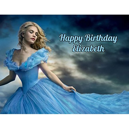 Cinderella Movie 2015 Edible Image Photo Cake Frosting Icing Topper Sheet Personalized Custom Customized Birthday Party - 1/4 Sheet - 79216 - Cinderella Cake Topper