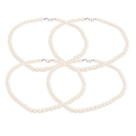 Wedding Party Lady Faux Pearls Beaded Linked Necklace Chain Neck Decor 4pcs