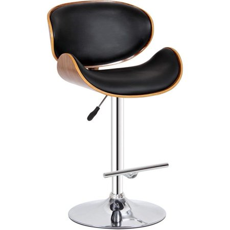 Creative Images Modern Collection PU Leather Height Adjustable Swivel Bar Stool with Gas Lift and Walnut Wood Accents, - Collection Lift