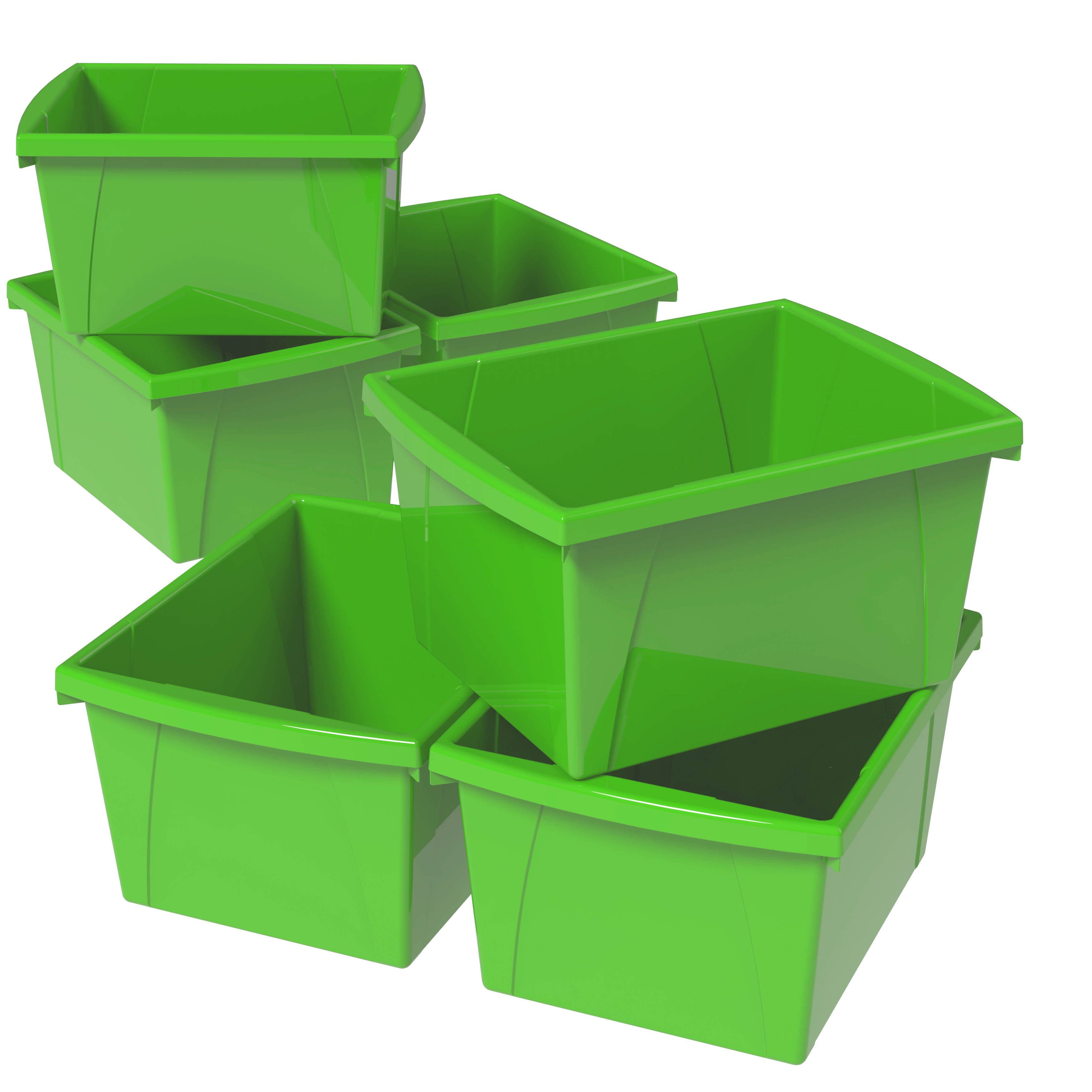 Storex 4 Gallon/15L Classroom Storage Bin,Green (6 units/pack)
