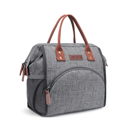 LOKASS Lunch Bag Insulated Cooler Bag Wide-Open Lunch Tote Box Leak Proof Drinks Holder Thermal Snacks Organizer for Women Men Boys Girls kids Adults School Work Picnic Hiking Beach Fishing,Grey ()