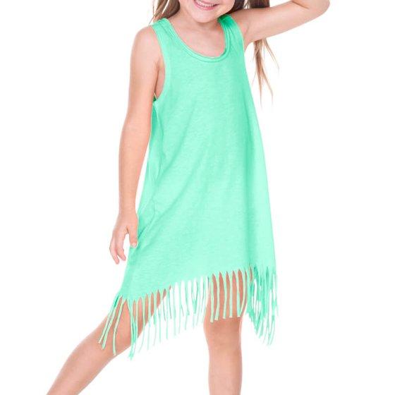3376f7db61d41 Girls 3-6X Sheer Jersey Raw Edge Fringe Asymmetrical Tank Dress Azure 3 -  Walmart.com