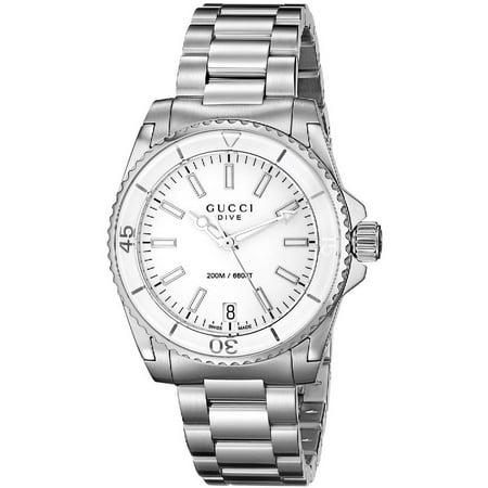 Gucci women 39 s 32mm steel bracelet case anti reflective sapphire swiss quartz white dial for Anti reflective watches