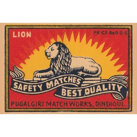 A lion rests on a banner proclaiming the best matches from a factory in Dindigul India Poster Print by (Best Amplifier For Home In India)